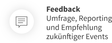 Feedback Umfrage, Reporting und Empfehlung zukünftiger Events